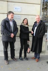 Marc Duncombe et Odile Gauthier du Conservatoire du Littoral avec Vijko Lukkien de la Fondation Trésor