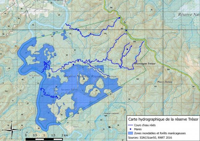 Carte actualisée du réseau hydrographique de la réserve trésor